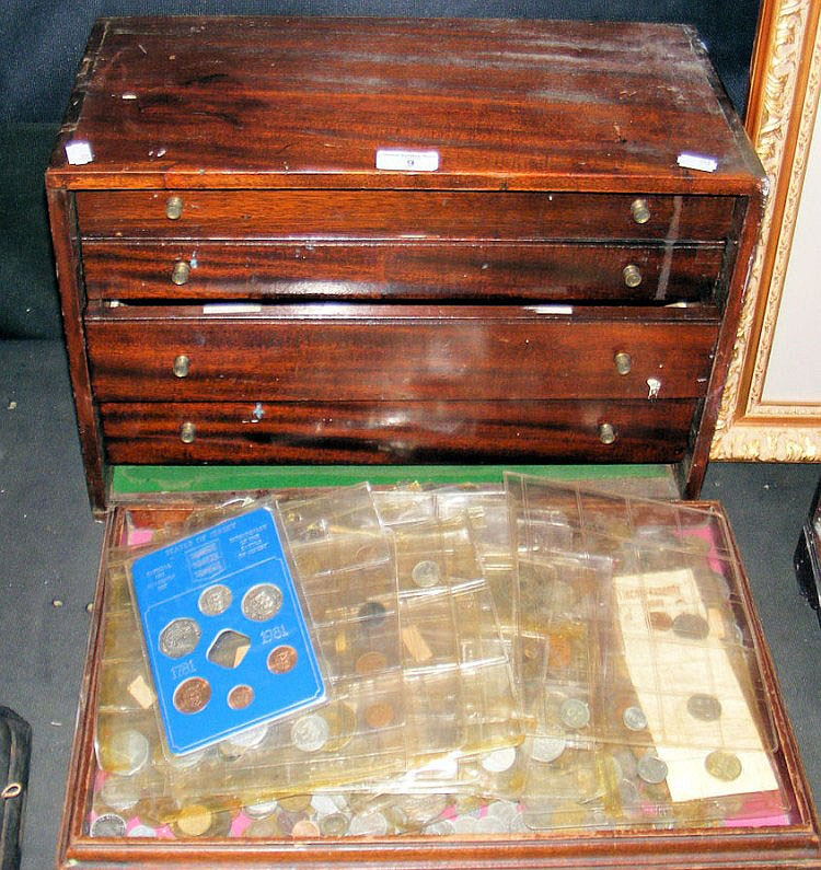 A four drawer mahogany collector's cabinet,