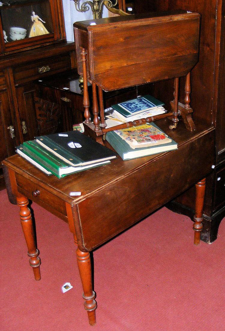 A Victorian mahogany Pembroke table and a small
