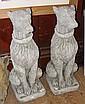 A pair of modern garden statues of Wolf Hounds