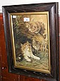 A watercolour of cats playing - signed M PEARCE -