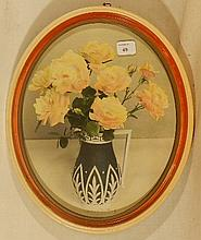 Wallace Nutting - Van Fleet Rose - Rare Oval Floral