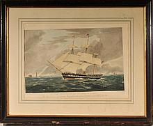 1830 Hand-Colored Print, H.M.S. Winchester