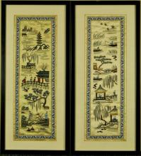 Pr. of Framed Chinese Silk Embroidered Panels