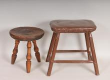Two Hand Made Wood Stools