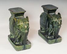 Pr. Chinese Elephant Form Garden Seats