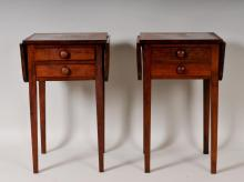 Pair of Two-Drawer Drop Leaf Side Tables