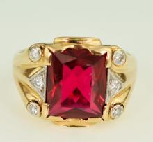 Gentleman's 10kt Gold, Ruby & Diamond Ring