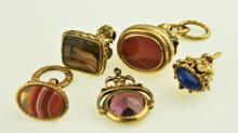 Five 19th Century Ornate Watch Fobs