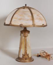 Caramel Slag Glass Lamp w/ Lighthouse Base