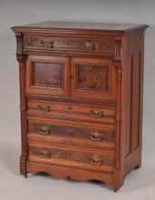 19th C. Carved Walnut and Burl Walnut Cabinet