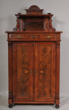 Carved Walnut and Burl Walnut Cabinet