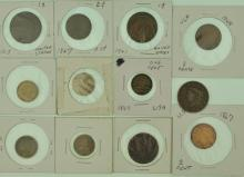 Grouping of Twelve Early U.S. Coins