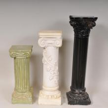 Three 20th C. Molded Plaster Pedestals