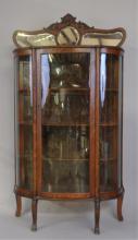 Quartersawn Oak Curved Glass China Cabinet