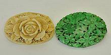 2 Brooches--Jade & Ivory