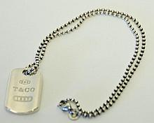 Tiffany Sterling Dog Tag Necklace