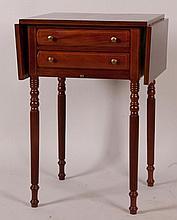 Inlaid Mahogany Drop-Leaf Sewing Table