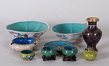 Pr. Lotus Form Bowls + Cloisonne