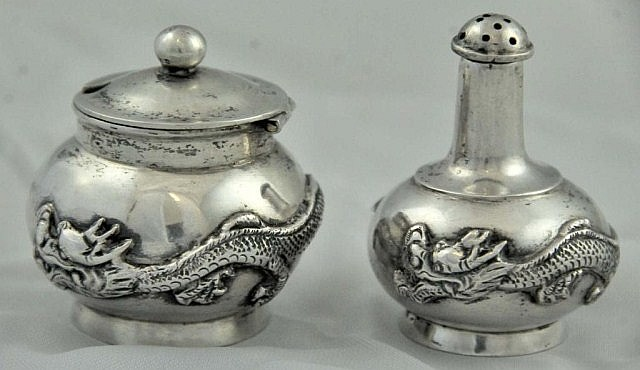 Chinese Silver Shaker and Mustard