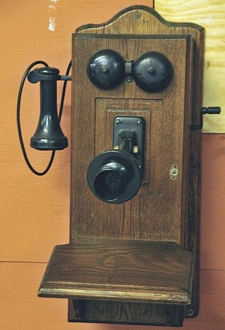 c. 1910 Oak Wall Mount Telephone