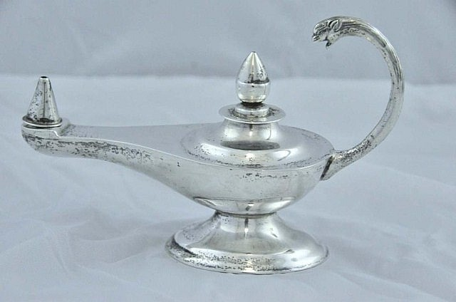 Mexican Sterling Silver Aladdin Style Oil Lamp