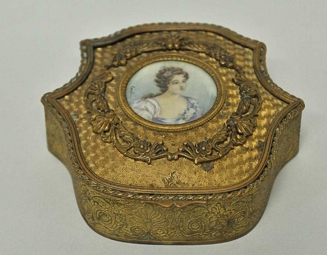 French Gilt Metal Jewelry Casket