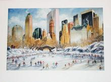 Kamil Kubik, Skating in Central Park, Signed Print