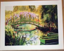Lot 320A: Michele Byrne, Monets Bridge, Signed Canvas Print