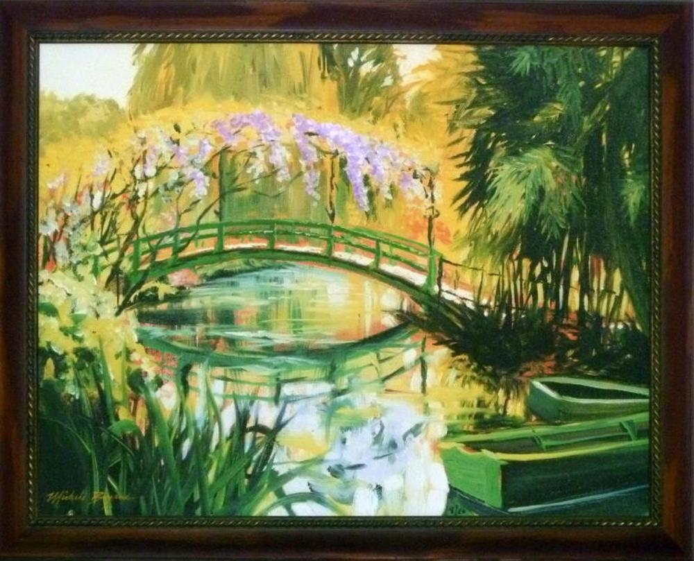 Lot 320C: Michele Byrne, Monets Bridge, Framed Canvas Print