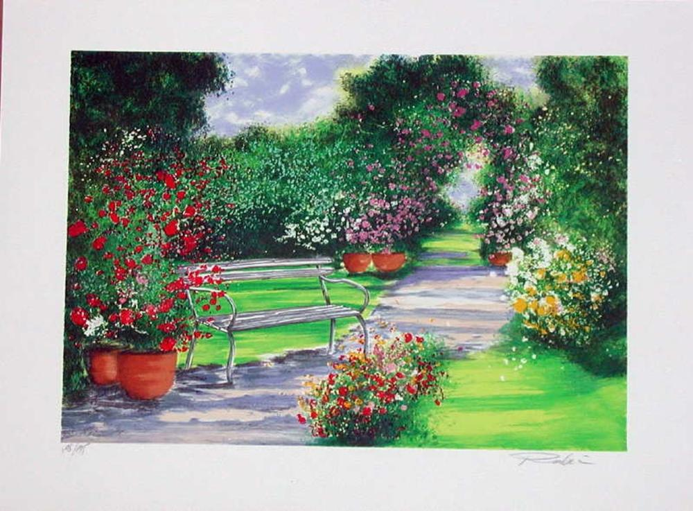 Raphael Robic, Park Bench, Signed Lithograph