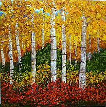 Wanda Kippenbrock, Falls Gold, Oil on Canvas