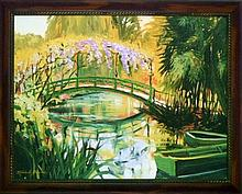 Michele Byrne, Monets Bridge, Framed Canvas Print