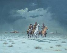 Riders Leaving Pitchfork by Melvin Warren (1920-1995)