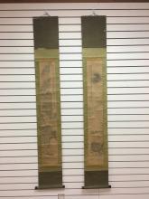 "Pair of Japanese Style Scroll Paintings of EDO Period, signed by Tanomura Chikuden 日本画轴""苏东坡夜游赤壁"",日本名家田能村竹田(1832年画)"