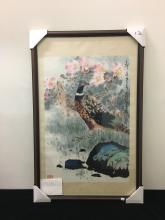 """Chinese Brush Painting of Pheasants by Chen Ziyi """"锦鸡""""镜心,陈子毅(1919,岭南画家)"""