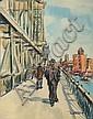 Louis Wolchonok: Pedestrians on Bridge, Louis Wolchonok, Click for value