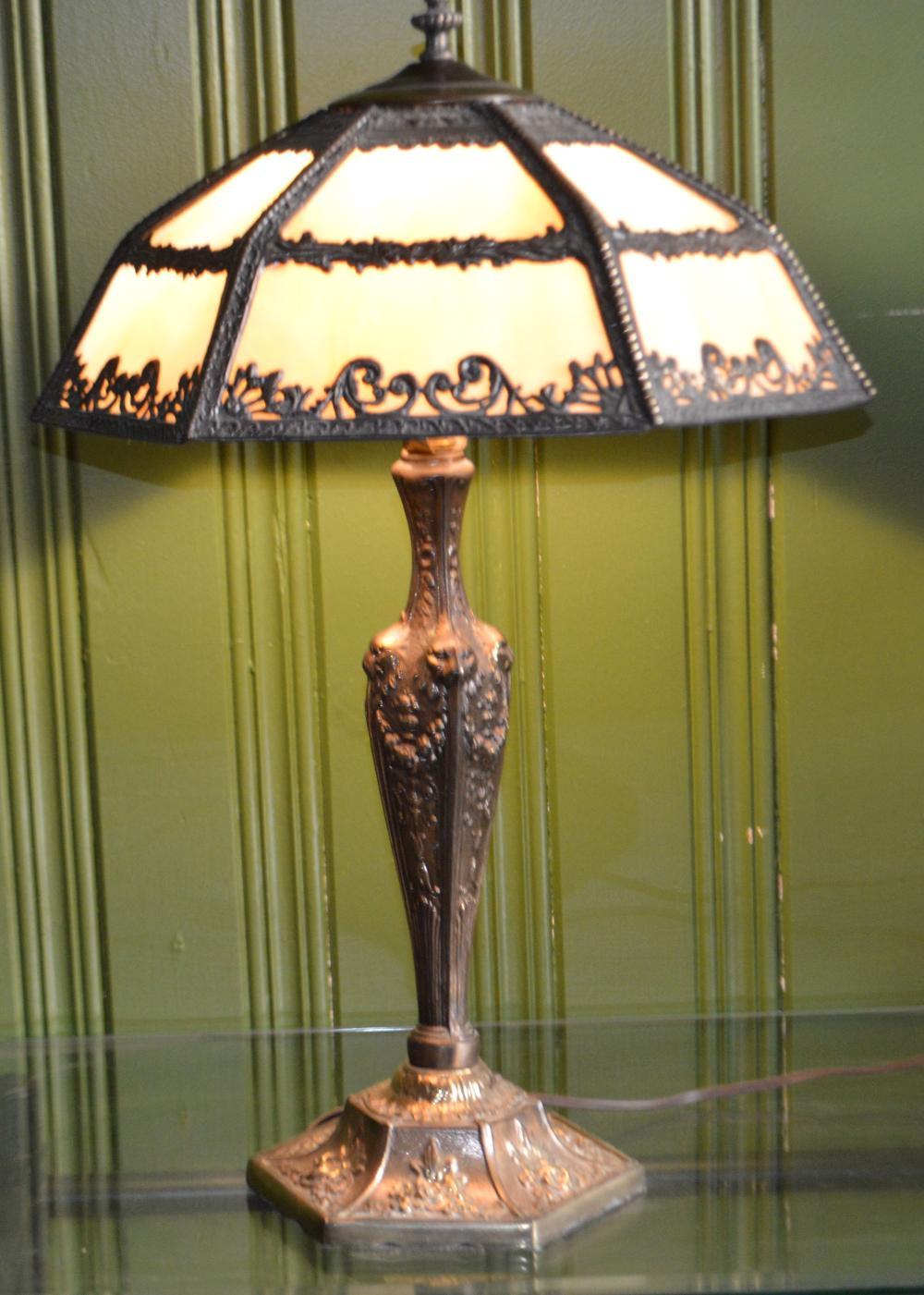 Victorian Slag Glass Table Lamp