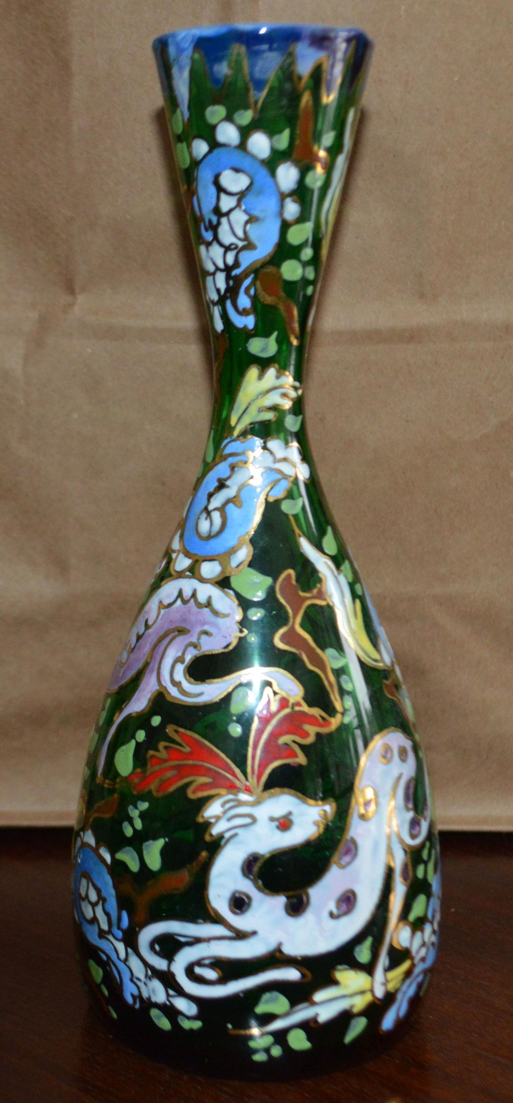"""Signed """"Royo"""" Art Glass Enameled Vase"""