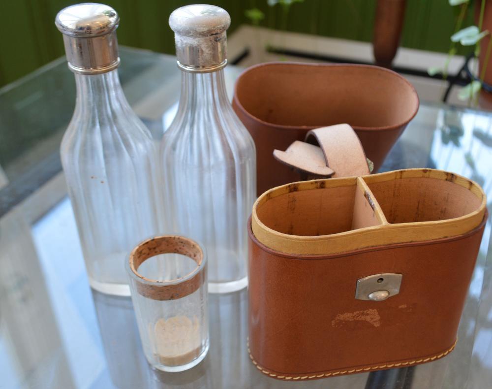 Pr. Liquor Bottles w/ Shot Glass in Leather Case