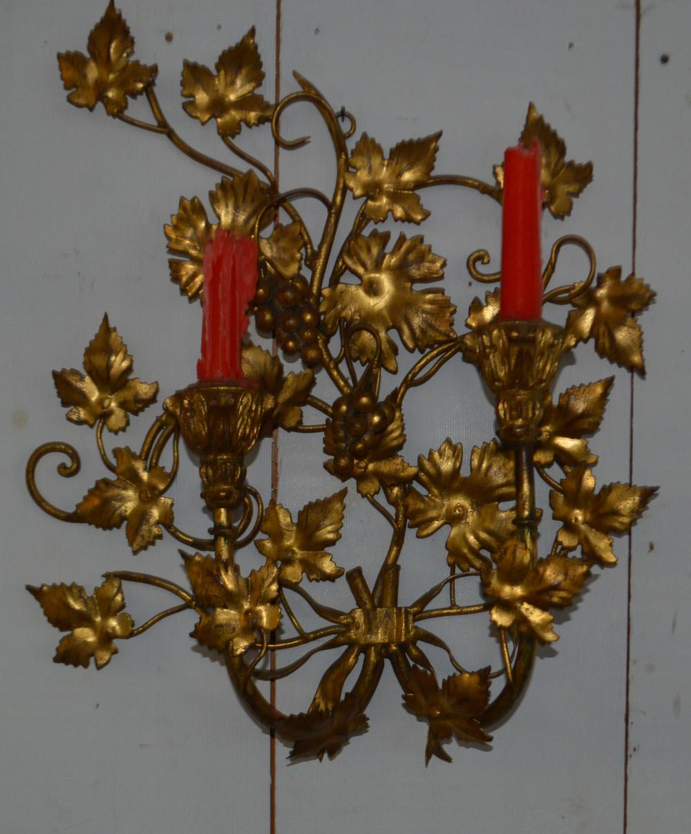 Metal Gold Painted Floral Wall Candle Holder