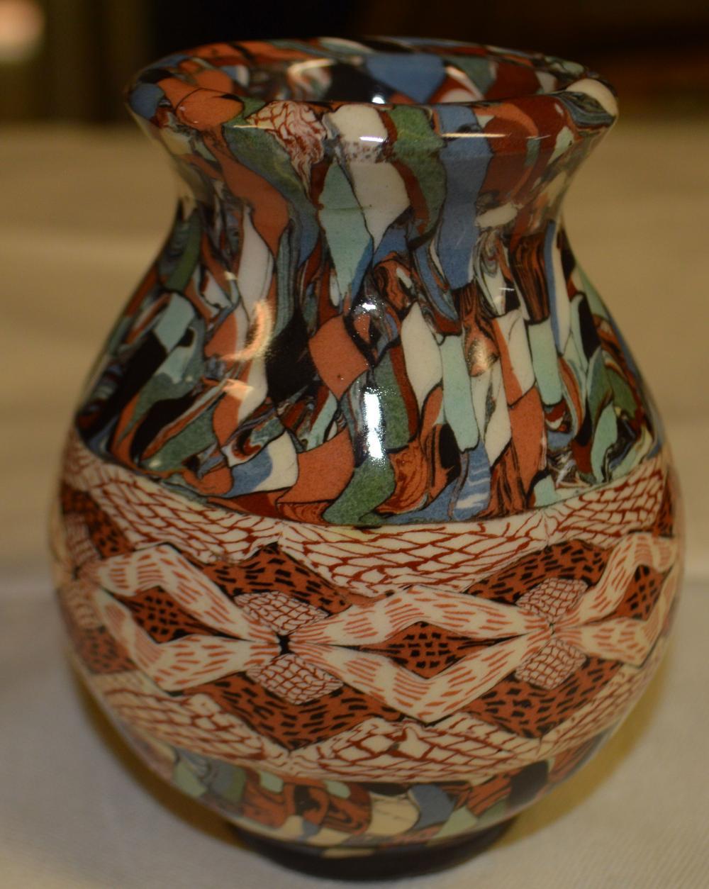 """Jean Gerbino"" French Mosaic Art Pottery Vase"