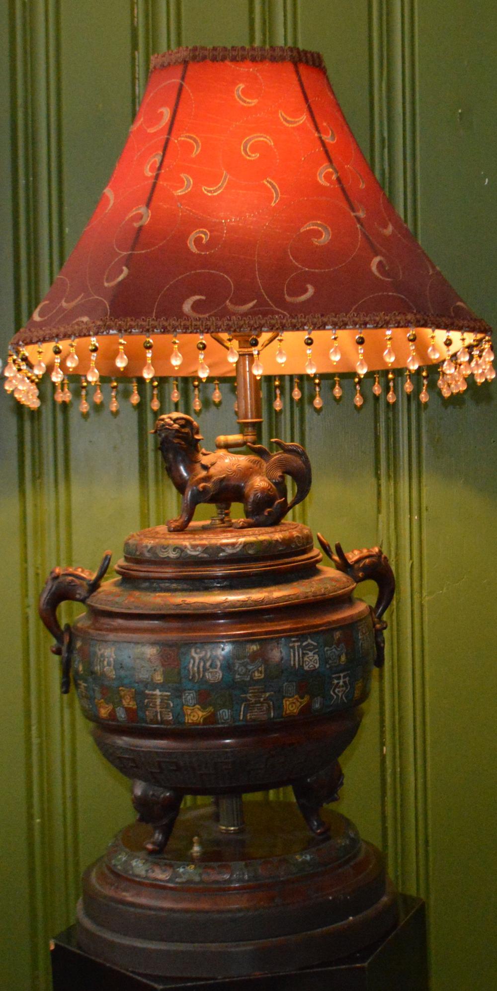 "Antique Large 19"" Asian Cloisonne Lamp w/ Foo Dog"