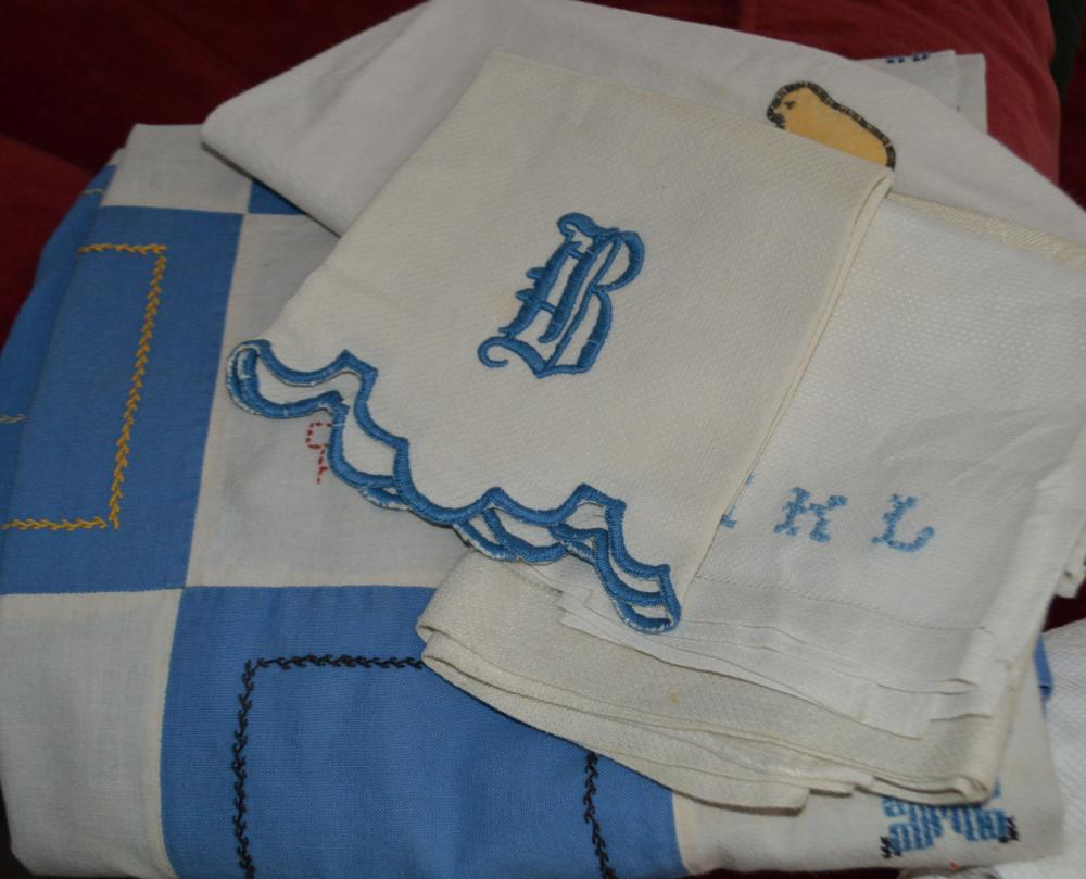 Lot Hand Embroidery Crib Quilt/Towels