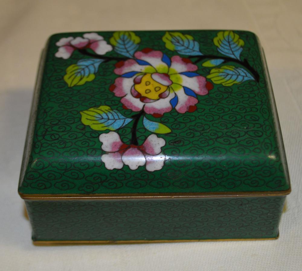Cloisonne Box in Green/Blue Interior