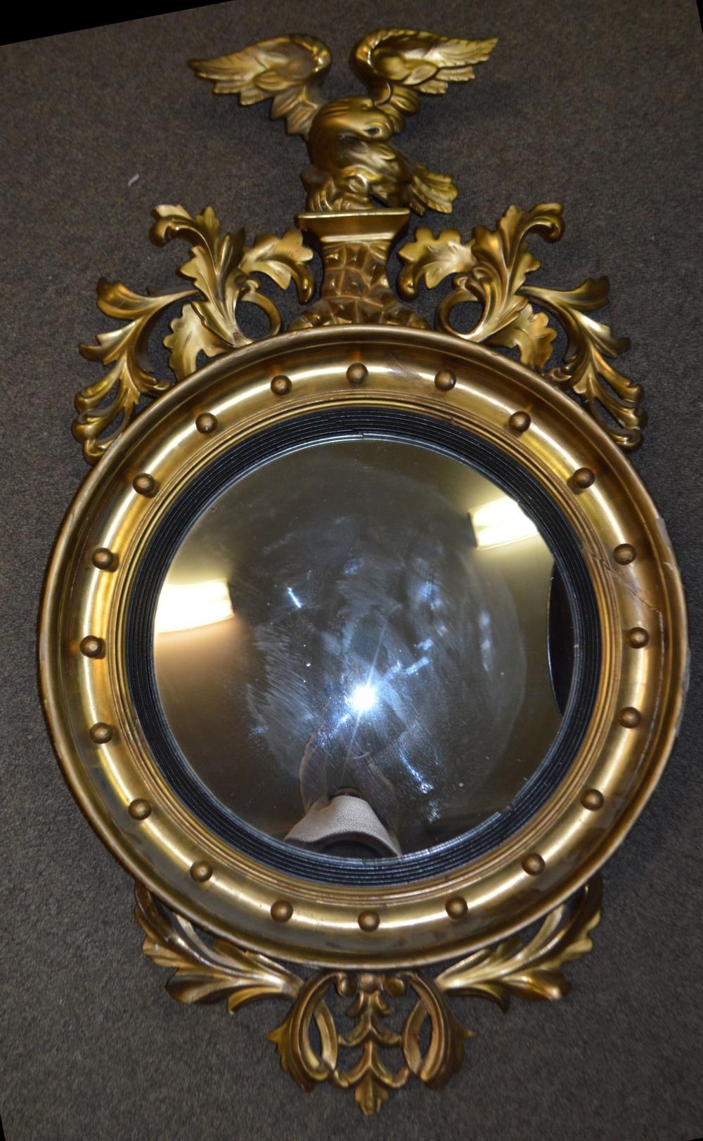 Antique 19th C Federal Eagle Gold Gilt Wood Frame Mirror