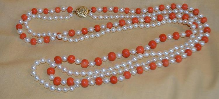 Double Strand Coral & Pearls