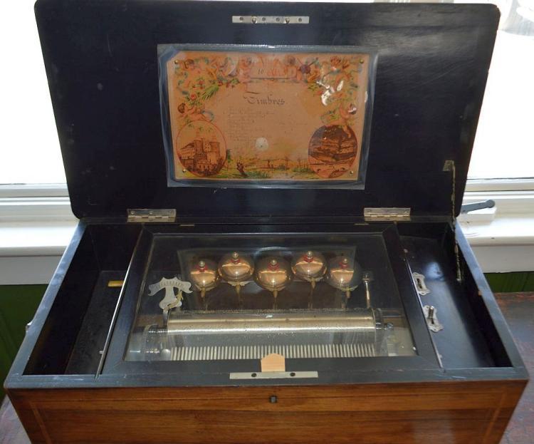 Victorian Inlay Bells & Bees Music Box
