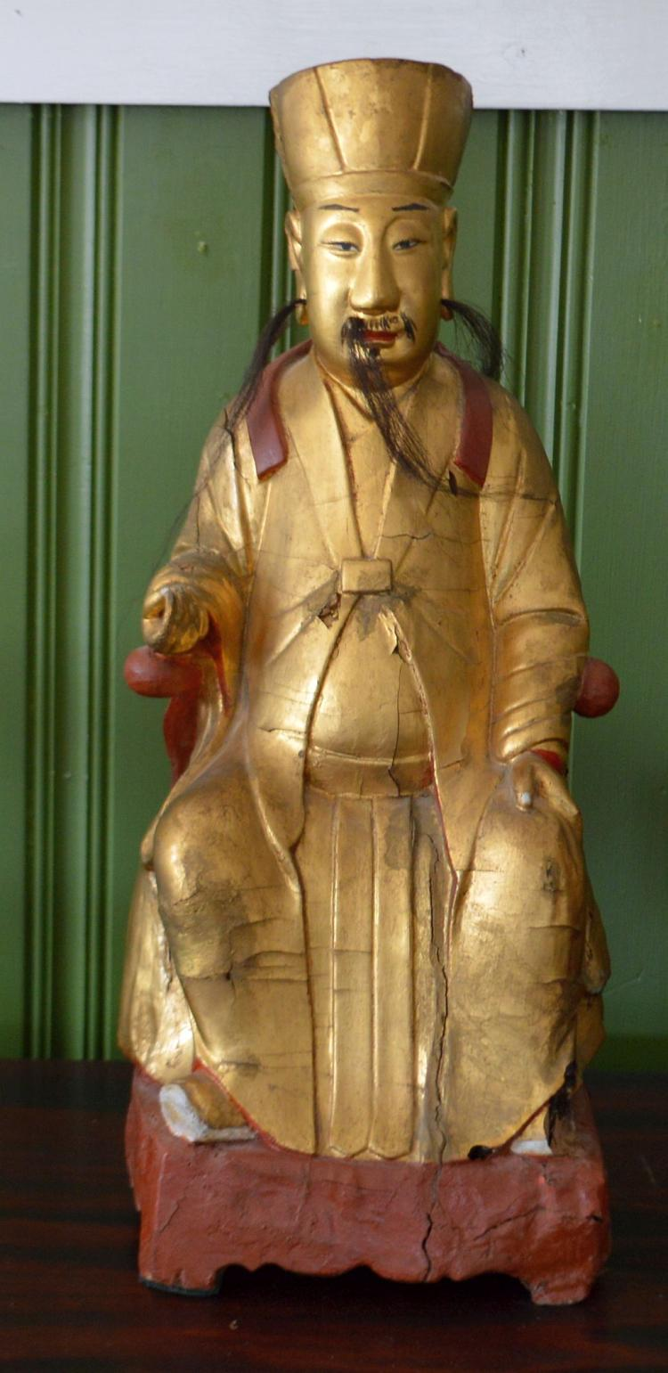 Carved Wood Asian Royal Figure