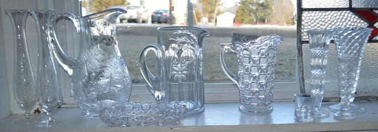 Varied Clear Etched Glass & Crystal Pitchers/Vases