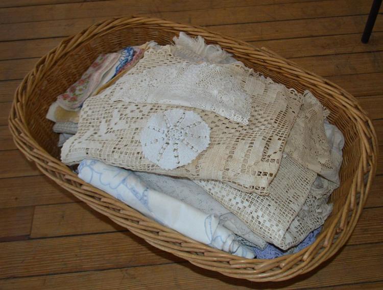 Basket w/ Early Linens & Lace (No Basket)